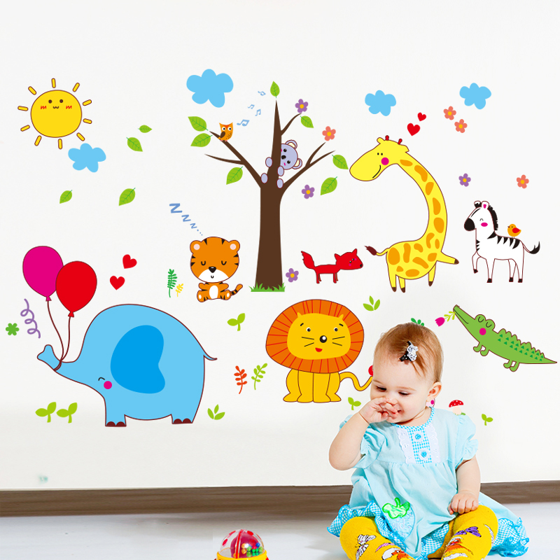 [SHIJUEHEZI] Elephant Lion Tiger Deer Horse Wall Stickers Vinyl DIY Animal Tree Wall Art for Kids Room Kindergarten Decoration