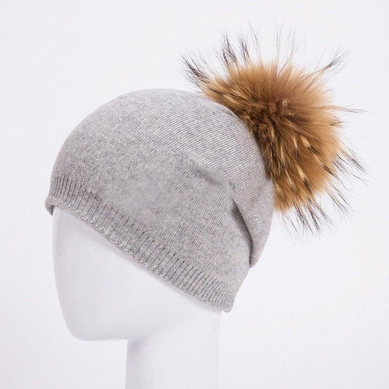 HEE GRAND/женская шапка, зимние вязаные шапки унисекс из шерсти енота, шапки с перьями для мужчин, меховая шапка куполообразная, Прямая поставка PMT089 - Цвет: Color-14