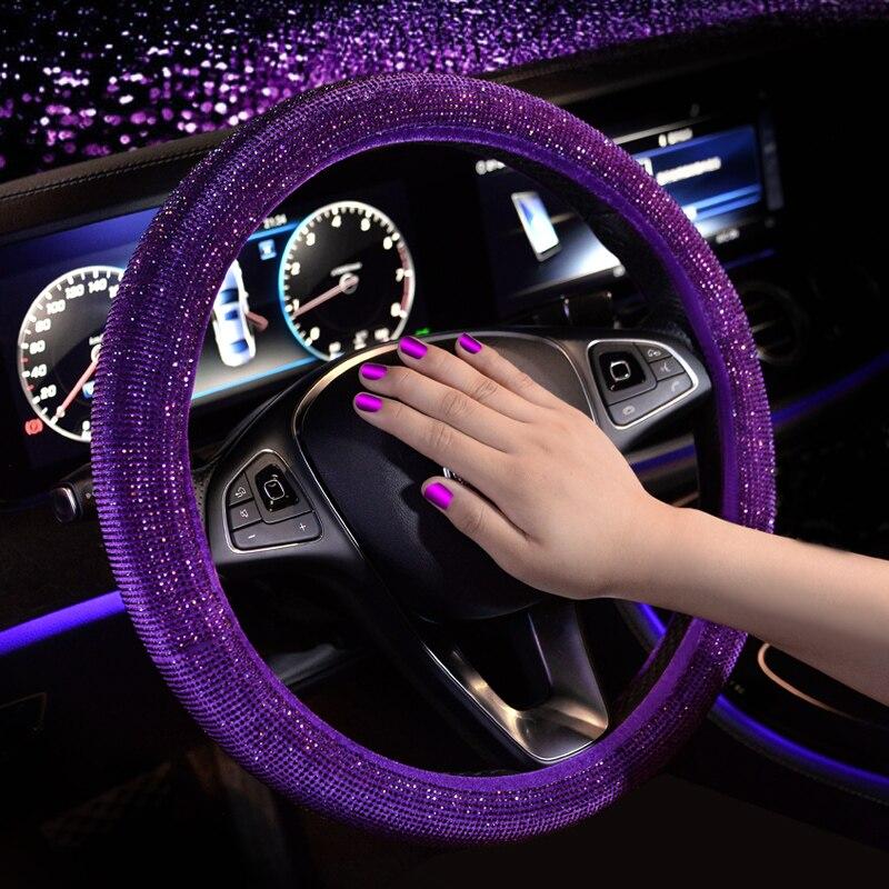Luxury Crystal Purple Red Pink Car Steering Wheel Covers Women Girls Diamante Rhinestone Car Covered Steering-Wheel Accessories
