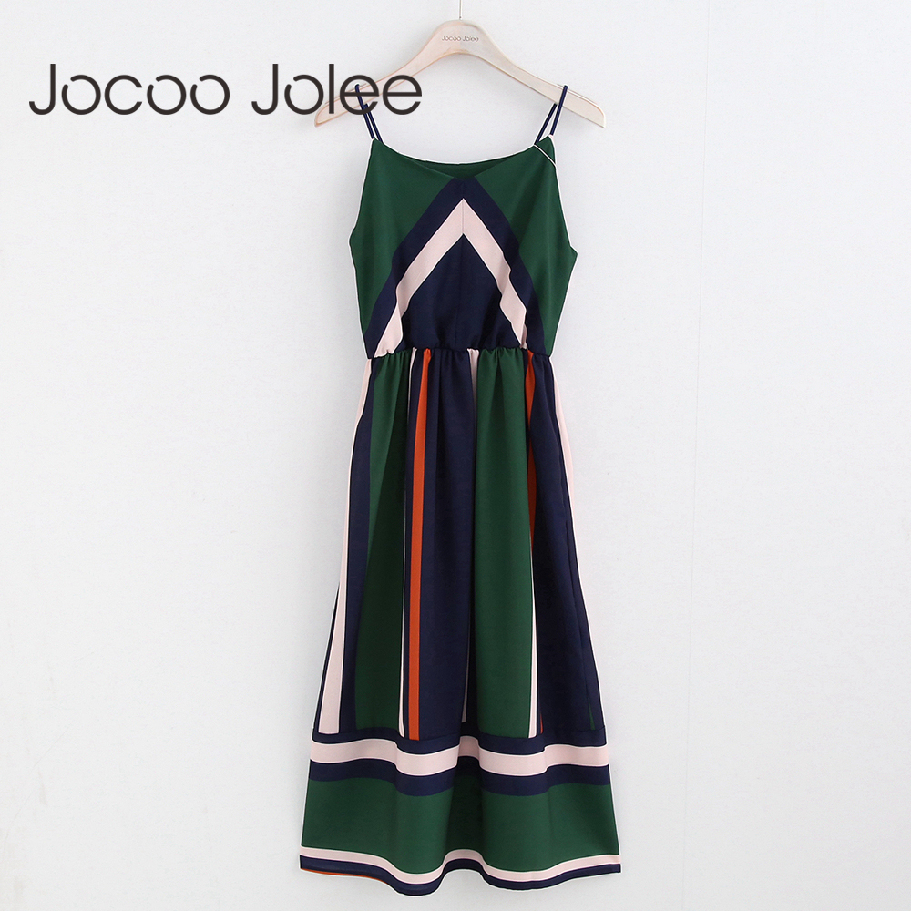 Jocoo Jolee מקרית פסים הדפסת נשים חוף שמלה עם ספגטי רצועת אינדי פולק סגנון קיץ שמלה עם O-צוואר 2018 חדש