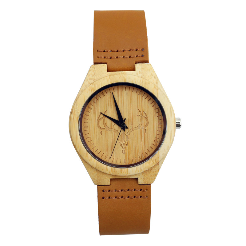 2017 New Arrival Deer Head Dial Wris Watch Natural Bamboo Wristwatch With Genuine Leather Band Quartz-watch Relojes