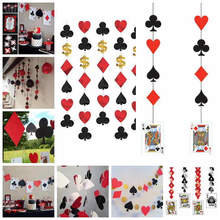 0b762f6b5a8 Casino String Decoration Las Vegas Themed Party Night Card Dangling Cutouts  Playing Card Suite Symbols Garland