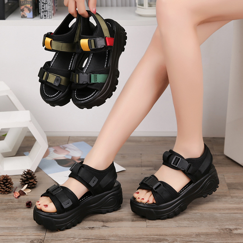2019 Sandals Leisure Muffin Slope Increase Shoe Word Buckle Womens Shoes2019 Sandals Leisure Muffin Slope Increase Shoe Word Buckle Womens Shoes