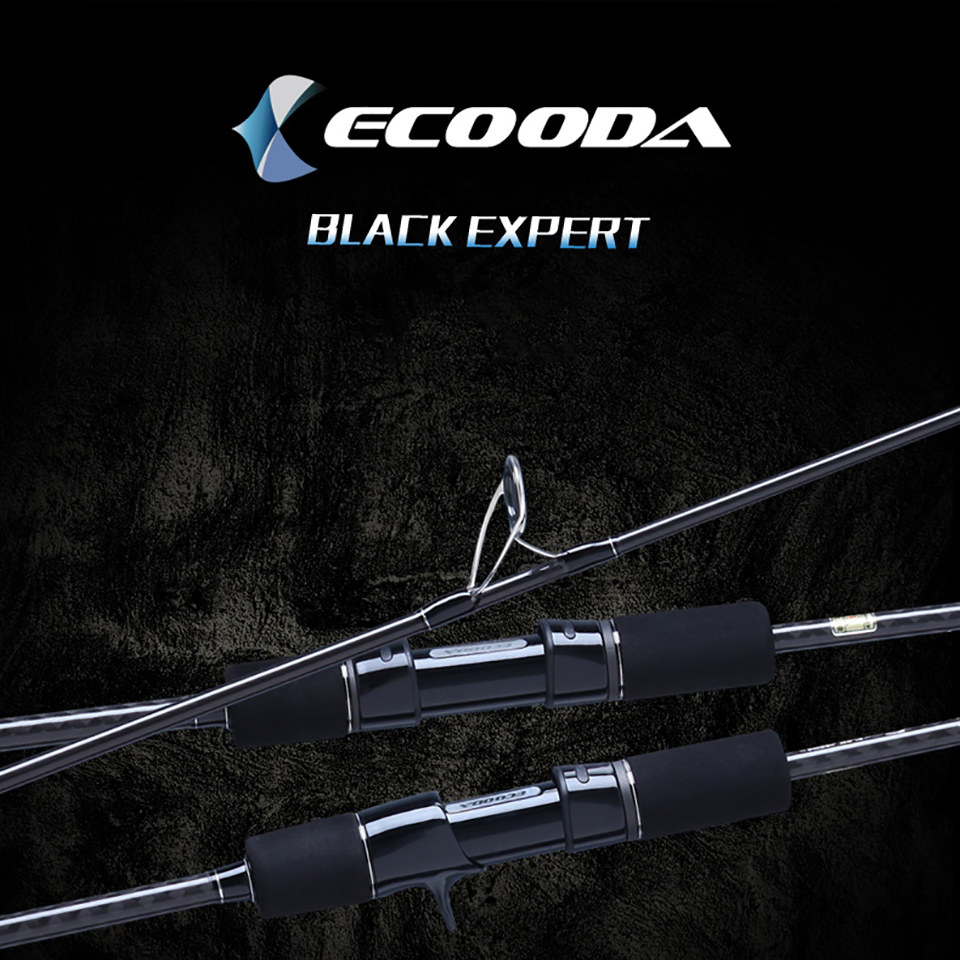 Ecooda Black Expert 1 Section 1.83m 1.9m Carbon Spinning Casting Lure Slow Jigging Fishing Rod Stick Cane FUJI Rotate Jig Rod power filter weiduka ac8 8 power supply socket lightning protection with voltage display extension socket