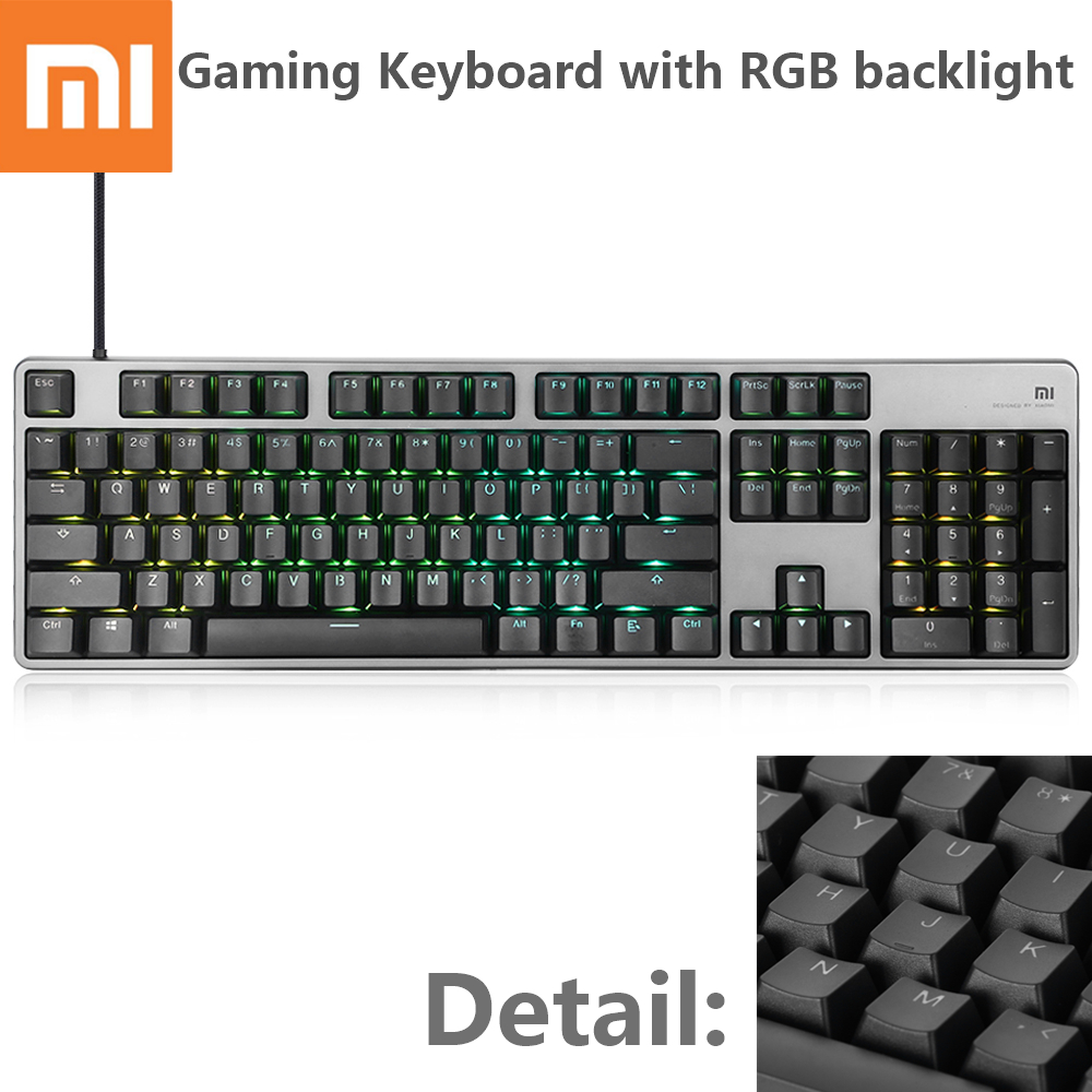 Xiaomi Mi Mechanical Gaming Keyboard LED Backlit Backlight 104 Keys USB Wired Mechanical Keyboard Aluminum Alloy For Gamers