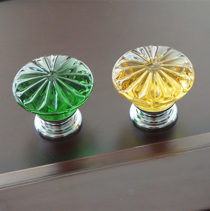 Flower Crystal Drawer Knobs Pull Handles Dresser Pulls Gold Glass Look Yellow Green Kitchen Cabinet Door Handle Modern Style 35mm gray blue pink yellow glass crystal drawer win cabinet knobs pulls silver gold dresser door handles knobs modern fashion