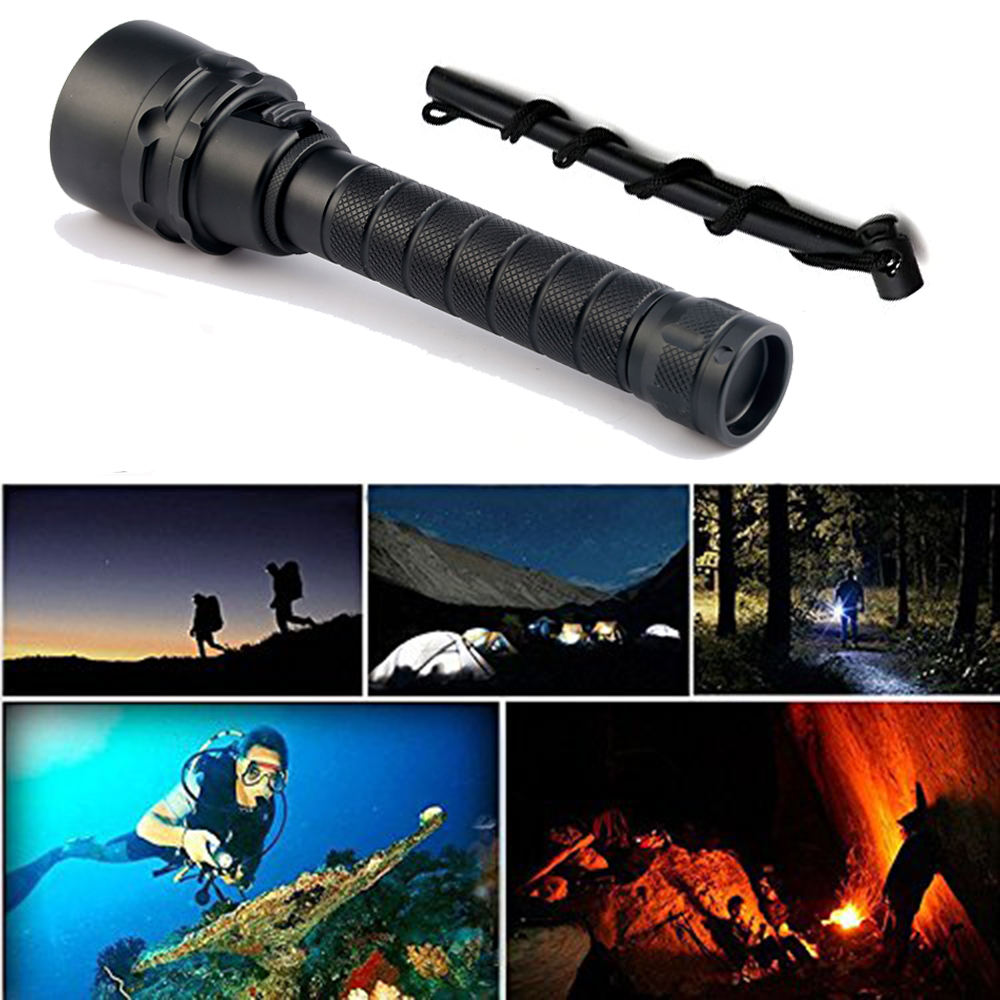 Купить с кэшбэком 2020 50W Diving Flashlight T6/L2 Scuba Dive Torch DEEP Underwater Waterproof Led Flashlights Lantern light by 18650 Battery