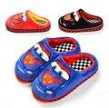 Invierno de las muchachas de la historieta del coche de algodón hogar cálido zapatillas de interior sandalias de los niños calzado niños flip flop casa shoes16O101