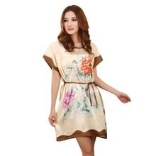 Женская Китайский Стиль С Коротким Рукавом Шелковое Платье Свободно Ночная Рубашка Халат
