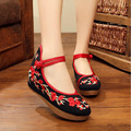 2017 Chinese style Beijing embroidered flower shoes wedding shoes female wedge increased thick bottom Plum blossom design buckle