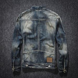 Image 2 - Mens ג ינס מעיל רחוב צווארון עומד רוכסן Biker סגנון קאובוי ארוך שרוול מעיל קלאסי בציר היפ הופ ז אן מעיל להאריך ימים יותר