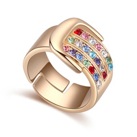 Plain Vintage Female Male Ring Multicolor Ring With Czech Crystal Shinning Stone Men Finger Ring Anniversary