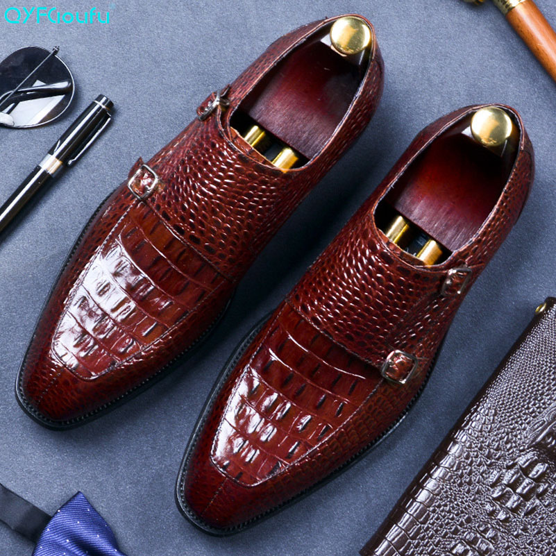 QYFCIOUFU Italian Brand Design Handmade Genuine Leather Men Brown Formal Shoes Office Business Double Monk Strap Dress Shoes in Formal Shoes from Shoes