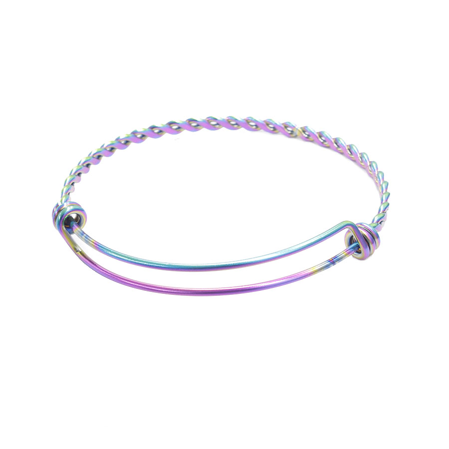 Fnixtar Rainbow Color Stainless Steel Twisted Wire Bangle Expandable Bangle Bracelet for Women Jewelry DIY Making