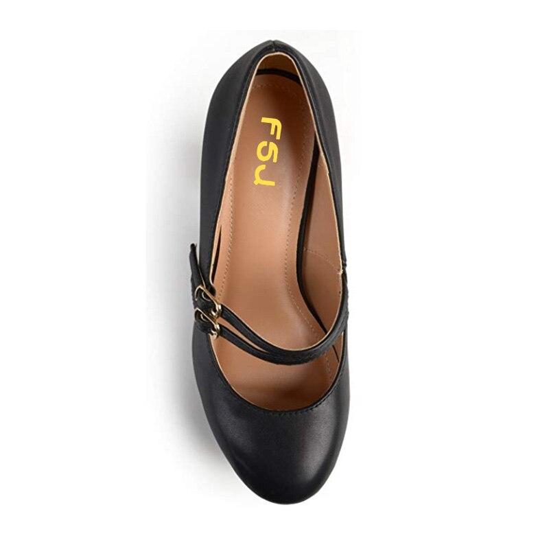 Robe Fsj Haute Rond Chaussures Mary Femmes Pompes Femme Talons Classique Travail En Janes Taille Cuir Noir Bout Double Boucle Fsj01 Carrés rawrvqZ