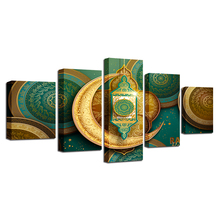 Decoration Living Room Wall Art Paintings 5 Pieces HD Printed Islamic Muslim Mosque Ramadan Poster Canvas Pictures Frame Modular