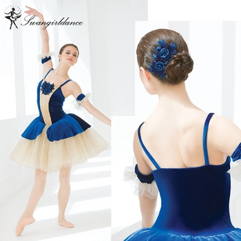 Adult royal blue romantic ballerina dress girls giselle stage performance tutu dance costume dress women BL0009 фото
