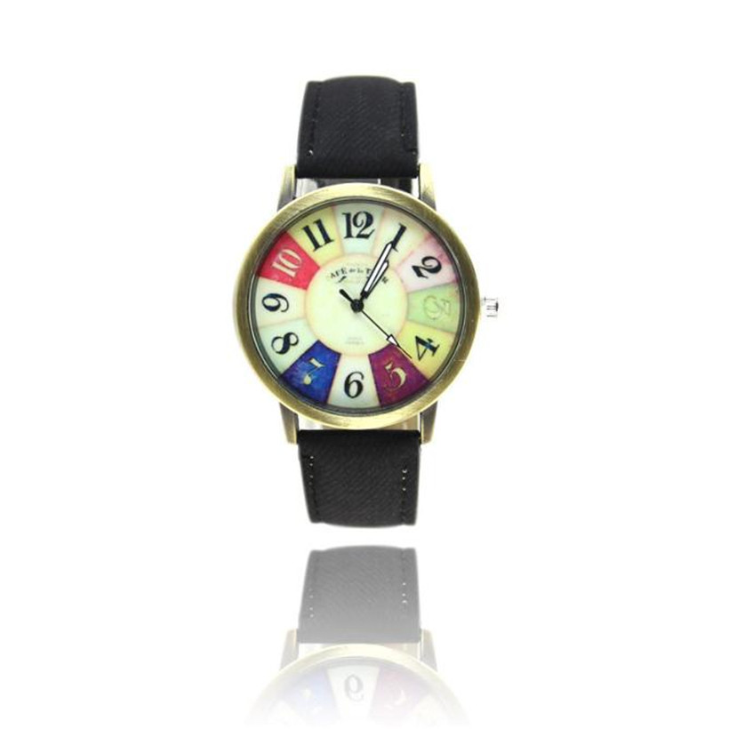 Irisshine dameshorloge Lady girl Harajuku Graffiti Pattern Leren band Analog Quartz Vogue Wrist Watches women # 1029