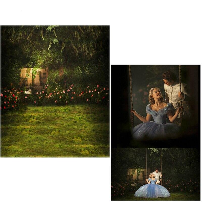 새벽 비닐 사진 배경 신데렐라 정원 경관의 숲 숲 새 직물 플란넬 사진 배경 스튜디오 6753