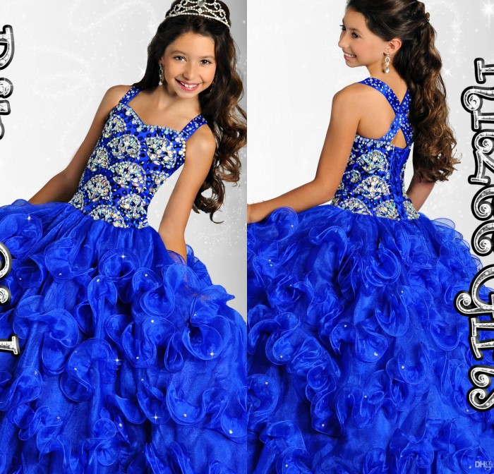 Pageant   Dress   For   Girls   Sweetheart Spaghetti Straps Crystal Beaded Tiered Organza Floor Length Royal Blue   Flower     Girls     Dress