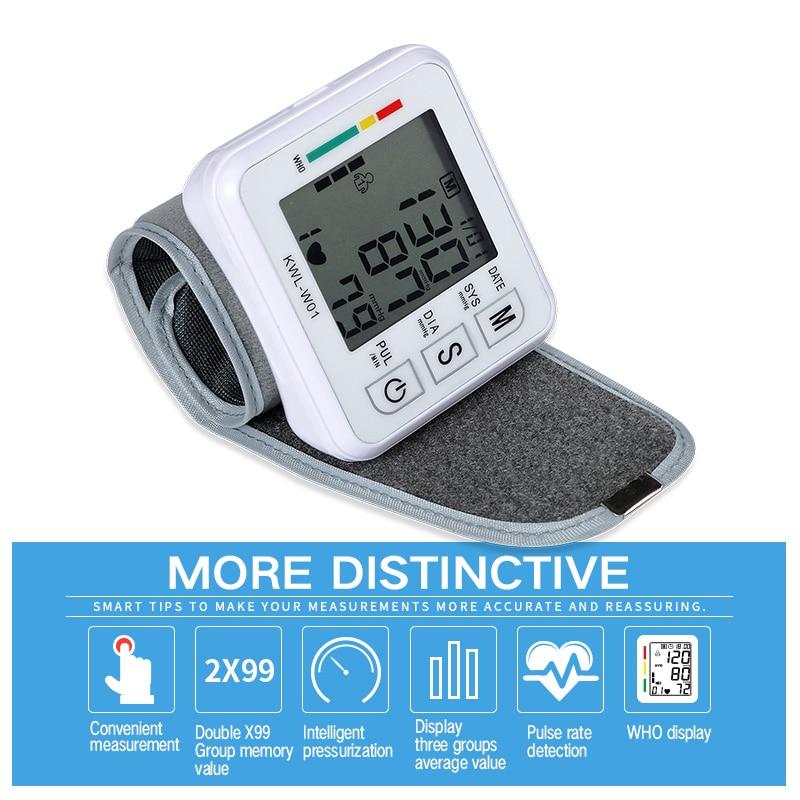 Medyczny nadgarstek Monitor ciśnienia krwi automatyczna maszyna do Tonometr Tensiometro cyfrowy Bp Monitor pracy serca ciśnieniomierz nadgarstkowy