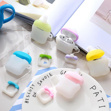 Creative Nipple Design Silicone Cover for Apple AirPods 1/2 Charging Case Baby Bottle Nipple Milk Bottle Earphone Charger Case цена 2017