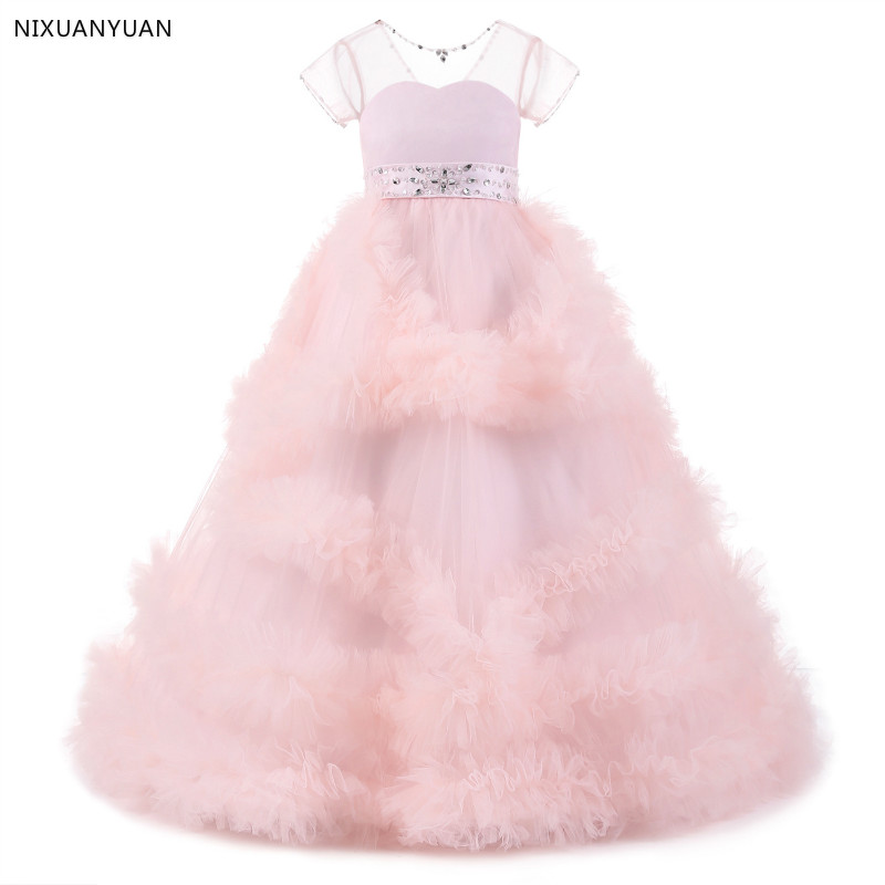 Sweet Pink Ruffles   Flower     Girl     Dresses   2019 Colorful Beaded Pearls Communion   Dresses   Pretty Floral Pageant   Dresses   For   Girls