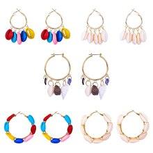 1pair Fashion Women Korean Bohemian Boho Indian Kpop Big Round Statement Clip On Hoop Shell Earrings