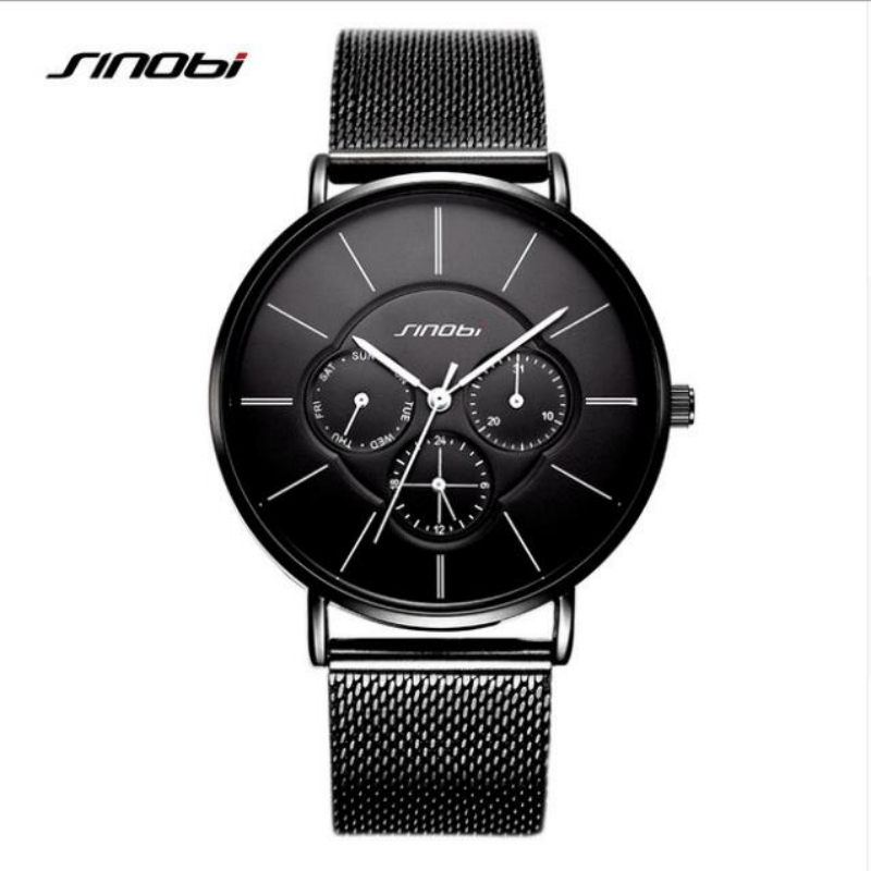 SINOBI Fashion Women's Watches Week Display Ultra thin Watch Women Watches Auto Date Ladies Watch Clock bayan saat montre femme sinobi luxury diamond watch women watches metal mesh ultra thin women s watches ladies watch clock saat montre femme reloj mujer