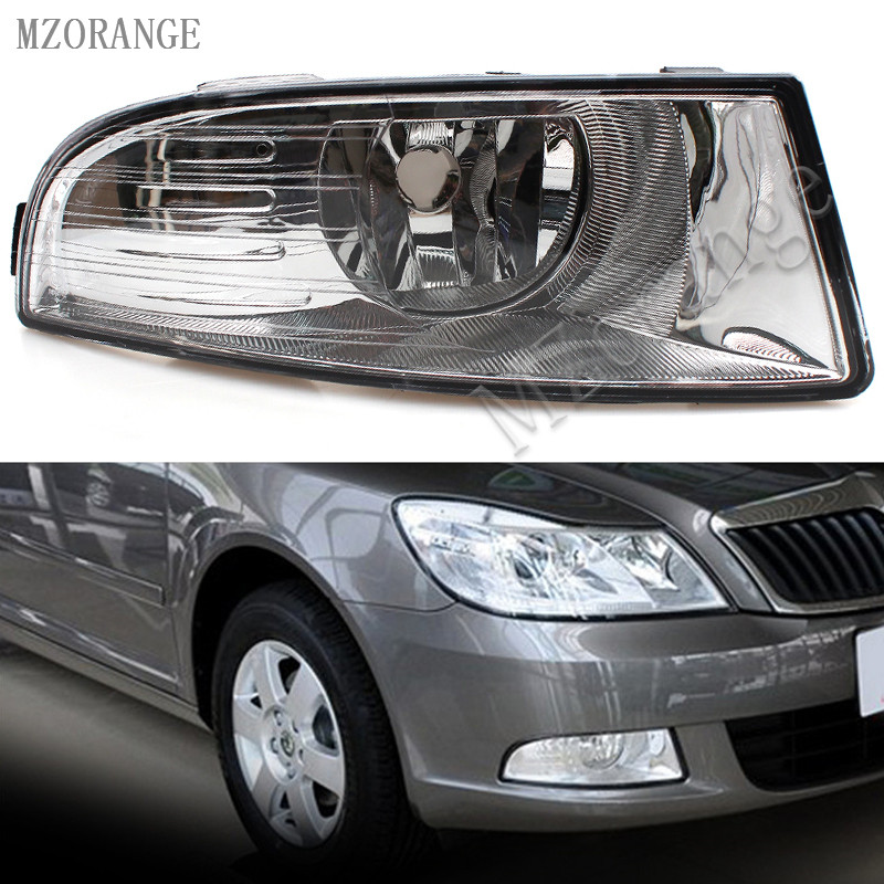 MZORANGE Car Light Front Fog Light For Skoda Octavia A6 MK2 FL 2009 2010 2011 2012 2013 Car-styling Fog Lamp With Light Holes 12v 55w car fog light assembly for ford focus hatchback 2009 2010 2011 front fog light lamp with harness relay fog light