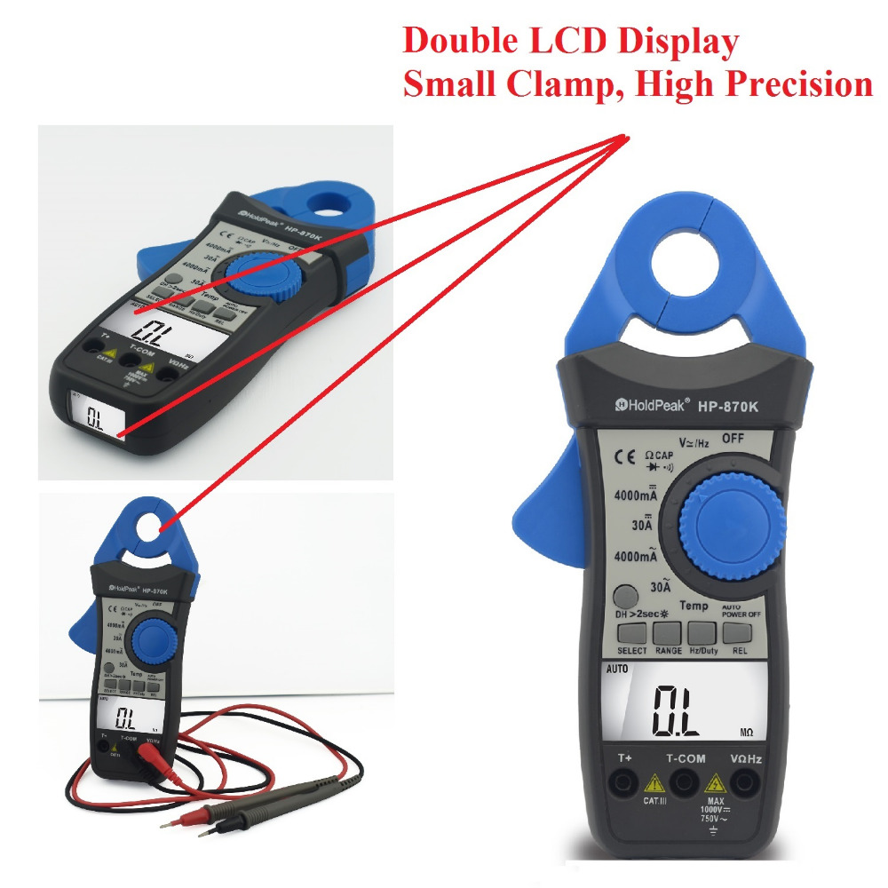 Auto Range DCAC Digital Clamp Meter Multimeter Pinza Amperimetrica Amperimetro Temperature/Frequency Backlight HP-870K 100% original fluke 15b f15b auto range digital multimeter meter dmm