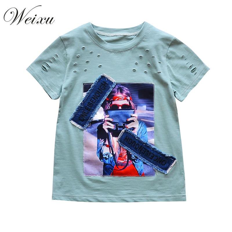 WEIXU Kids Girls Summer Tshirt Children Cartoon Print Cowboy Stickers Short Sleeve Tops Tee Teenager Girl Cotton Shirts Clothes
