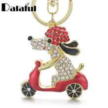 Dalaful 2017 New Lovely Dog Motorcycle Biker Crystal Rhinestone Metal Bag Pendant Keyring Keychain For Car K183