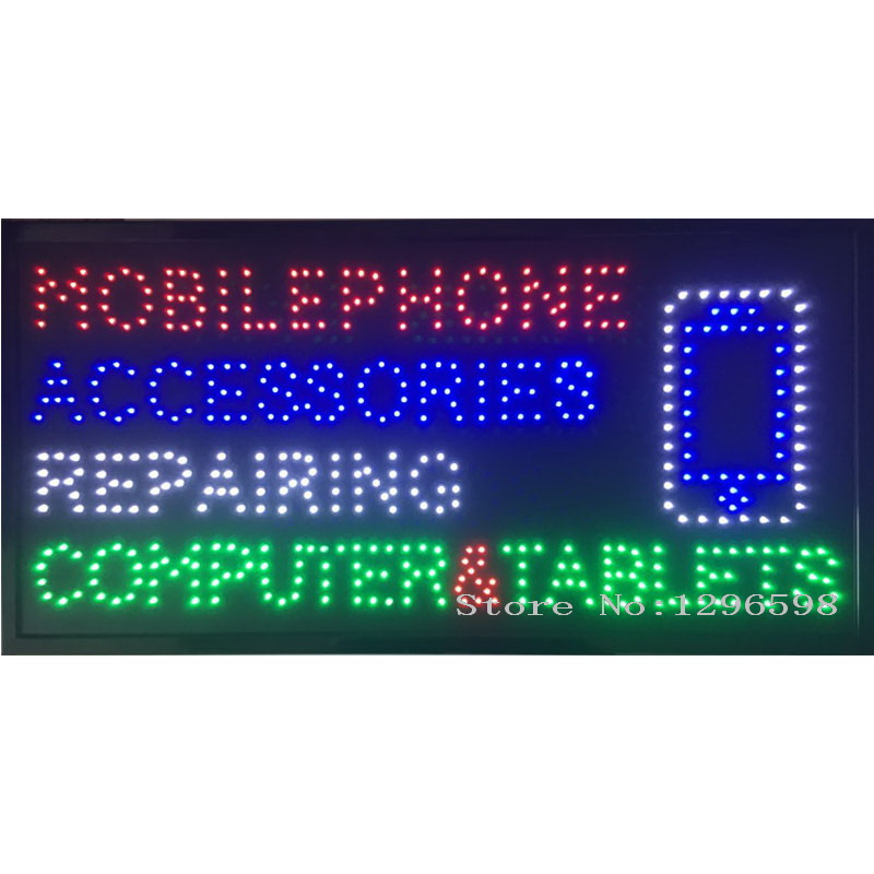 CHENXI New Arriving Mobile Phone Accessories Repairing Computer&Tablets Business Shop Sign of Led Indoor 80 X 40CM No Animation-in Plaques & Signs from Home & Garden