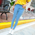 2016 Women new arrival fashion simple high waist denim pencil pants female all-match pure color high elastic slim fit jeans