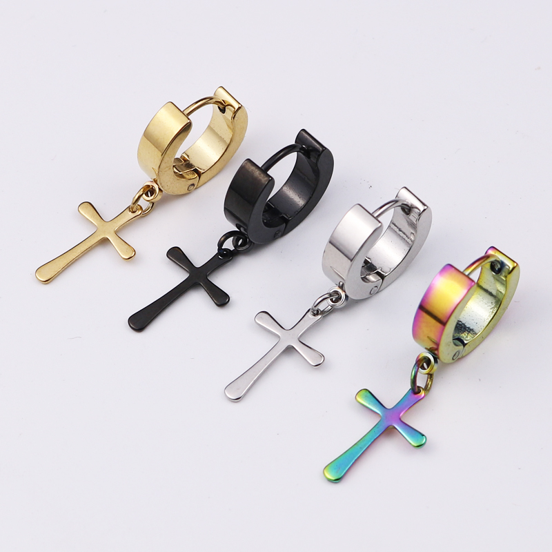 Earings Fashion Jewelry 2017 Crosses Waves Punks Men Earrings