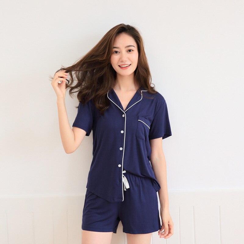 2018 Women's   Pajamas     Set   Modal   Pajama   Shorts for Women Cotton Pijamas for Summer Short Sleeve Modal Sleepwear