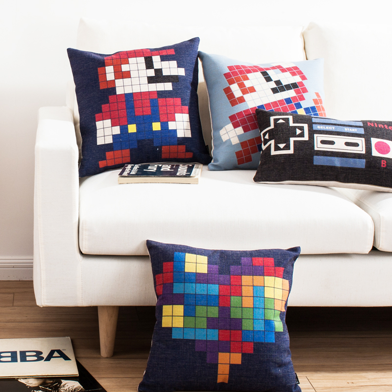 Colorful Geometry Plaid Patchwork Cotton Linen Throw Pillow Case Cushion Cover Cartoon Mario Home Decor 45x45cm Cojines
