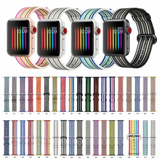 Цветной Радужный нейлоновый ремешок в полоску для Apple Watch Band 40 мм 44 мм спортивный тканый ремень 42 38 для iWatch Series 4 3 2 1