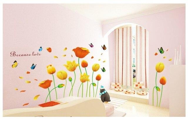 romantic flower decoration bedroom sofa large wall sticker bathroom window glass music vinyl removable wall art