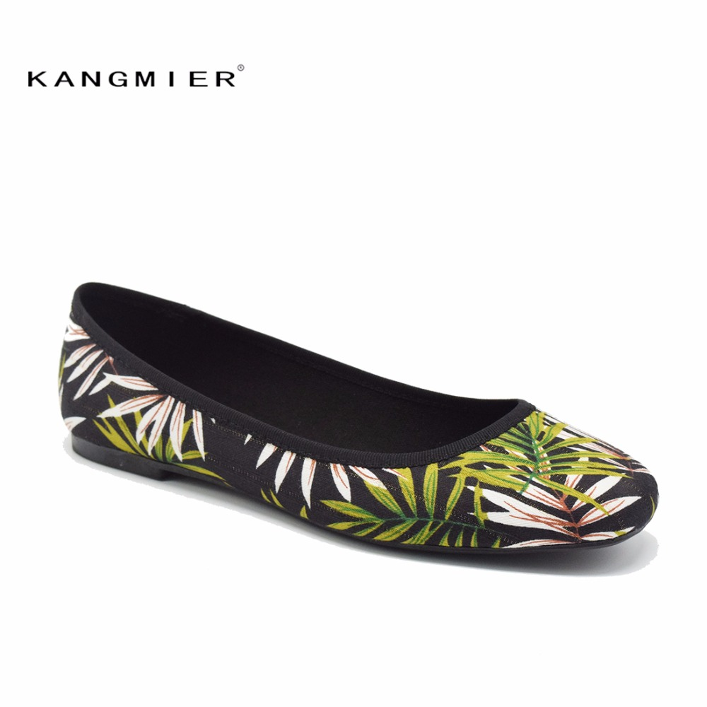 shoes women flats printed Canvas Fabrics ballet ballerina flats shoes spring autumn KANGMIER green flowers petal leaves vintage embroidery women flats chinese floral canvas embroidered shoes national old beijing cloth single dance soft flats