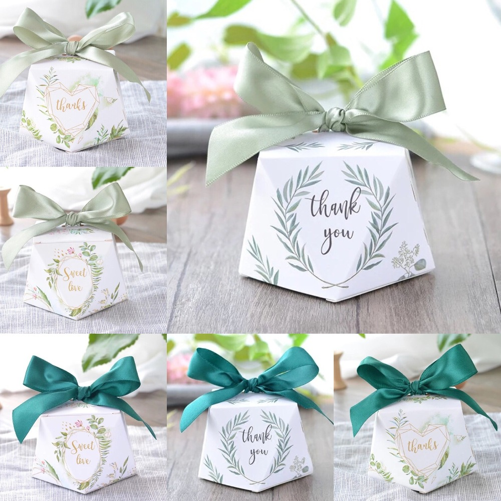 100pcs New Diamond shape Green leaves forest style SWEET LOVE THANKS Candy Box Wedding Favors Gifts
