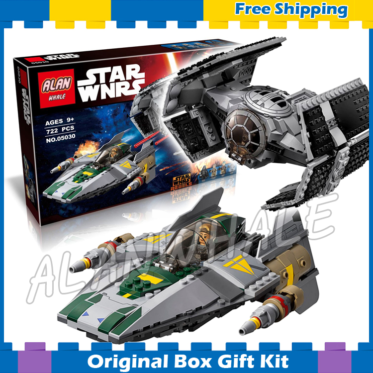 ФОТО 722pcs Star Wars 05030 Vader's TIE Advanced vs. A-Wing Starfighter Model Building Blocks Children Toys Compatible with Lego