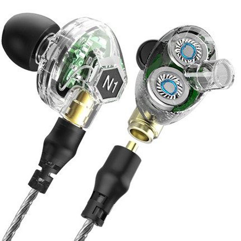 VJJB N1 In Ear Earphone Double Dynamic Diy Hifi Bass Auriculares with Mic Cable + Audio Cable for Phone Tablet Computer original senfer dt2 ie800 dynamic with 2ba hybrid drive in ear earphone ceramic hifi earphone earbuds with mmcx interface