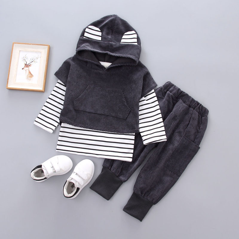 tcYct Baby Boys Girls3pcs Clothes Set Tracksuit For Boys Hooded Coat + t shirt + Pants Clothing Sets Tracksuit Sports Suit