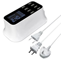 Universal Phone Charger With 8 USB Port Smart LED Display Phone Power Adapter Charging Dock For