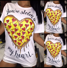 Women T Shirt 2016 Summer Clothing Funny Food Heart Cartoon Pizza Printed White Casual Tee Shirts Femme