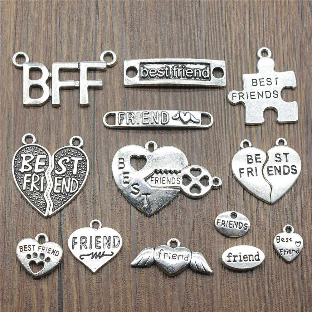 10pcs Antique Prata Banhado Melhores Amigos Encantos Pingente BFF dos Melhores Amigos Encantos Jóias Acessórios Artesanato