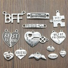 50%OFF(10 pcs or more) Antique Silver Plated Best Friends Pendant Charms Best Friends BFF Charms Jewelry Accessories Craft(China)