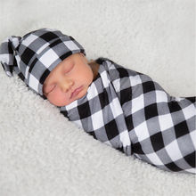 Stretch Wrap Swaddle Blanket Bath Newborn Baby Floral Plaid Swaddle Set